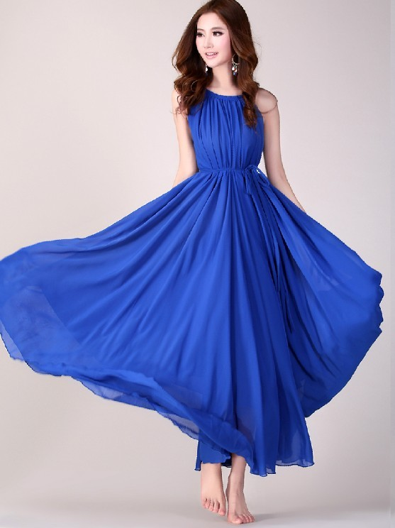 Royal Blue Wedding Party Dress Boho Holiday Beach Maxi Dress Baby