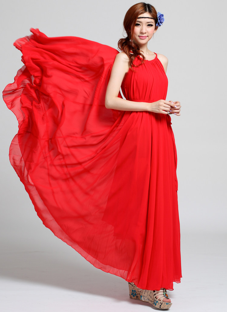Chinese Red Wedding Maxi Dress Beach Wedding Guest Dress Party